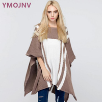 Hot Sweater Women 2017 Autumn New Pullover Cloak Female Personality Design Sleeveless Irregular Length Hit Color Women's Shawl