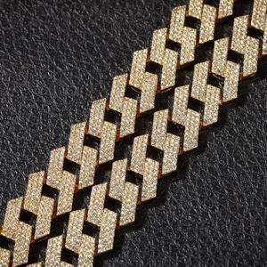 Image 3 - بلينغ الملك 20 مللي متر الشق سلاسل حلقات كوبية موضة الهيب هوب مجوهرات 3 صف الراين مثلج خارج القلائد للرجال