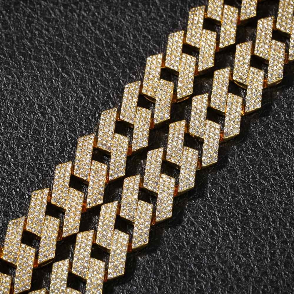 THE BLING KING 20mm Prong naszyjnik kubański łańcuszek moda Hiphop biżuteria 3 wiersz dżetów Iced Out naszyjniki dla mężczyzn