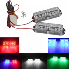 2x6 LED DRL Motorcycle Strobe Brake Day Light 12W Car Warning Police Lights with Controller Flash Lamp 12V