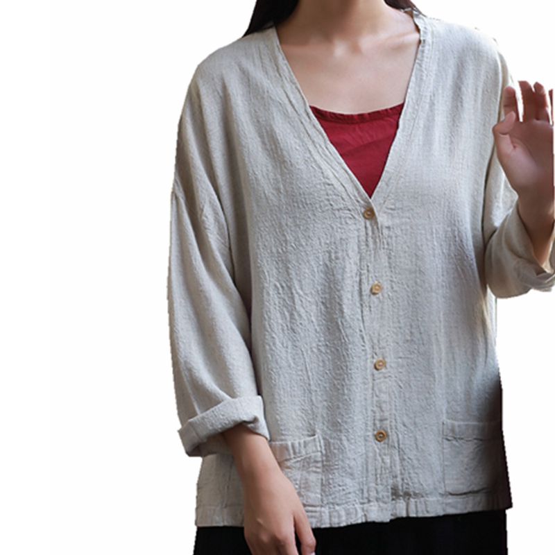 Cotton Linen Tee Shirt Femme Long Sleeve V Neck Double Pockets T-shirt Women Singal Breasted Cardigan Solid TShirt Top