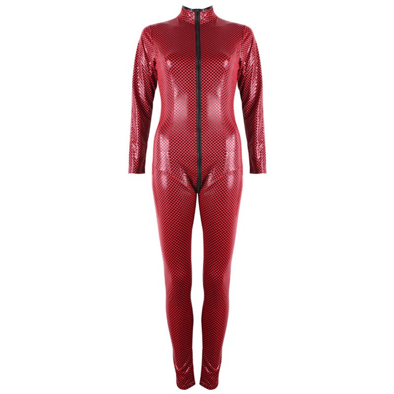 FeelinGirl-2016-New-Fashion-Red-Black-Faux-Leather-Jumpsuit-Front-to-Crotch-2-Way-Zipper-Sexy