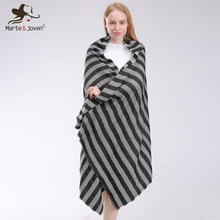Marte&Joven Fashion Black and Gray Striped Thick Knit Winter Scarf for Women Warm Imitation Cashmere Za Pashmina(China)