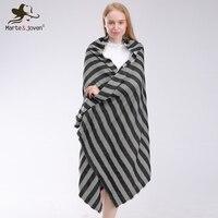 Marte & Joven Mode Schwarz und Grau Gestreift Dicken Stricken Winter Schal für Frauen Warme Nachahmung Kaschmir Za Pashmina