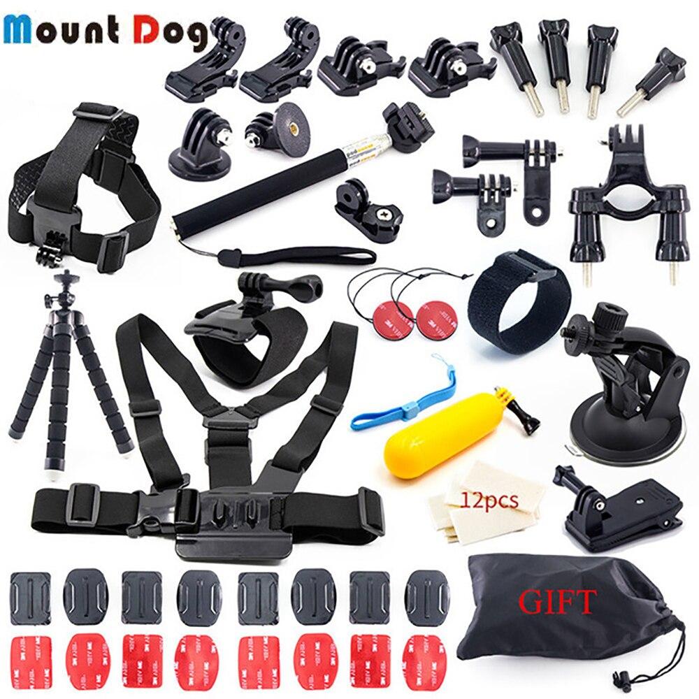 Pour Go Pro Hero7 6 5 4 3 Xiaomi yi mijia 4 k Kit d'accessoires SJCAM SJ6 SJ7 4 k GoPro boîtier trépied fixation de bâton monopode ActionCamera