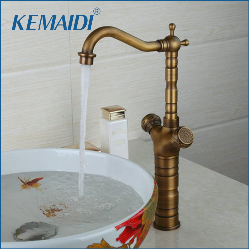 KEMAIDI Bathroom Sink Mixer Faucet Tall Antique Brass Double Handles Wash next Basin Faucets Deck Mounted TapKEMAIDI Bathroom Sink Mixer Faucet Tall Antique Brass Double Handles Wash next Basin Faucets Deck Mounted Tap