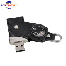 USB Flash Drive Leather 3.0 Compass Shaped USB Memory Drive 32GB 64GB Flash Drive High Quality 16G Pen Drive Perfect Memorial