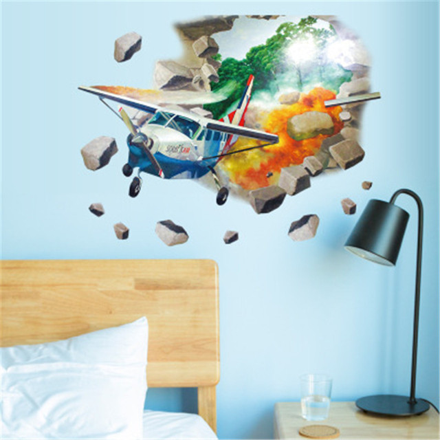 Airplane Wall Stickers For Kids Rooms Home Decor Nursery Vinyl Decals Helicopter Children Room