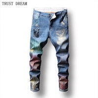 2018 Spring Autumn Paris Style Men Slim Print Jeans Gold Painted Pencil Pants Male Casual Floral Trousers Men Amazing Cool Jean