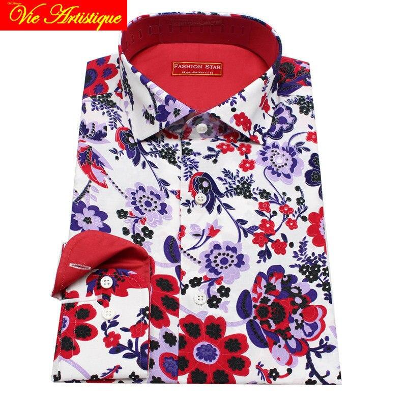 Personalizzato su misura su misura da Uomo cotone floreale camice di vestito di affari da sposa formale ware camicetta 2019 manica lunga fiore rosso
