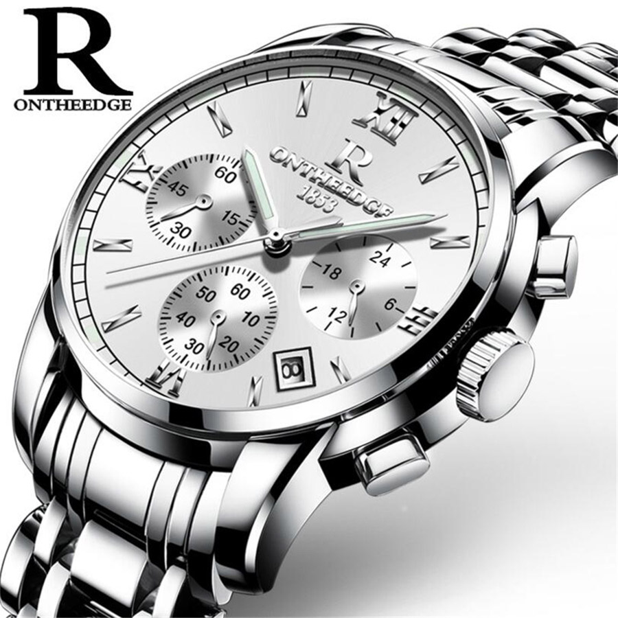 relogio masculino Mens Watches Top Brand Luxury Sport Quartz Watch Men Business Silver Stainless Steel Waterproof Wrist watch new luxury men watch roman numbers stainless steel quartz wrist watch male clock mens watches relogio masculino 2018