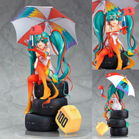 Racing Miku 1/8 scale cartoon 24cm action figure Hatsune Miku sitting posture anime peripheral decoration with box Y7354