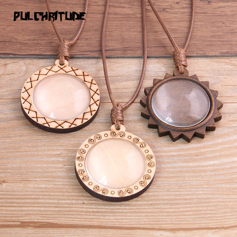 PULCHRITUDE 2pcs 30mm Inner Size Round Wood Cabochon Setting Blank Cameo Pendant Base Trays With Leather Cord For Jewelry Making