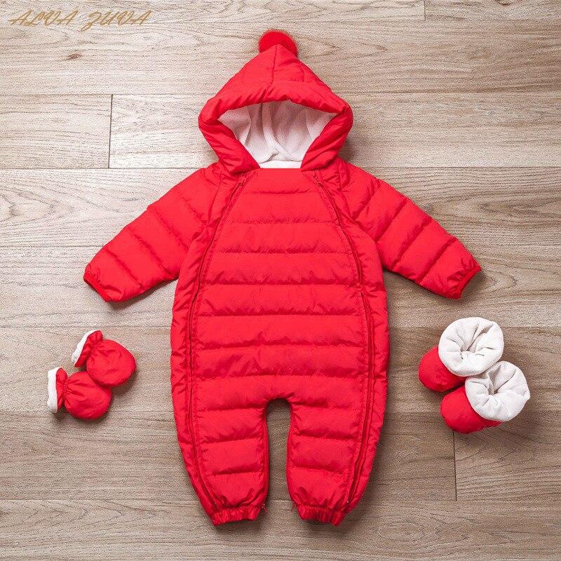 Новорожденных зимний комбинезон для маленьких мальчиков и девочек белая утка вниз комбинезон плотный теплый зимний комбинезон Дети одежда...
