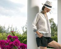 2019 Women Tunic Patchwork T Shirt Autumn Summer V Neck Three Quarter Indie Folk Print harajuku Shirts Tee Female Clothes