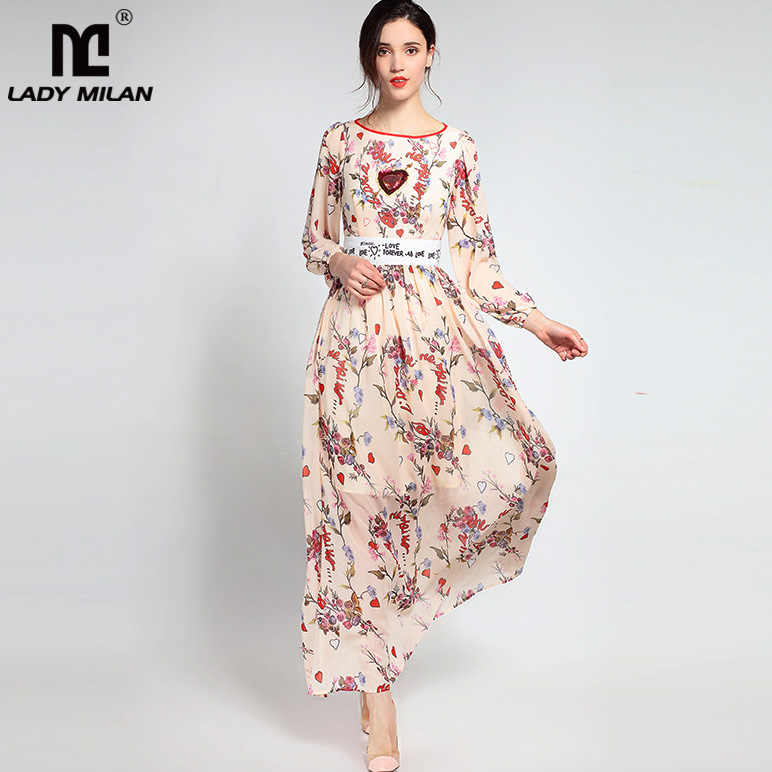 Lady Milan 2018 Womens O Neck Long Sleeves Floral Letters Printed Beaded A Line Fashion Casual Dresses