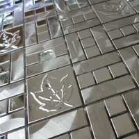 silver stainless steel with maple leaf mark mixed diamond metal tiles for kitchen backsplash wall mosaic tiles HME8103