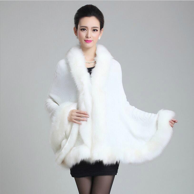 Podzimní zima nové ženy elegantní srst kabát faux fox Surround vlna cape móda teplé luxusní kožešina poncho šátek Pletené svetr