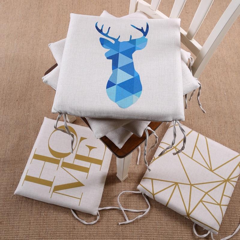 Memory Foam Chair Pad Seat Cushion Nordico Style Gemoetric Triangle Deer 40x40cm Home Decor Dining Room