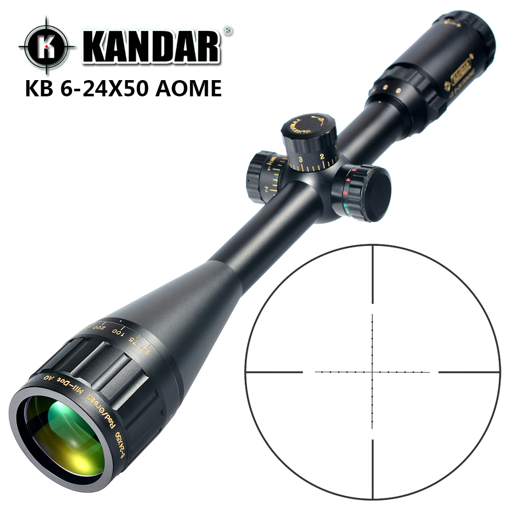KANDAR Gold Edition 6-24x50 AOME Glass Etched Mil-dot Reticle Locking RifleScope Hunting Rifle Scope Tactical Optical Sight tactial qd release rifle scope 3 9x32 1maol mil dot hunting riflescope with sun shade tactical optical sight tube equipment