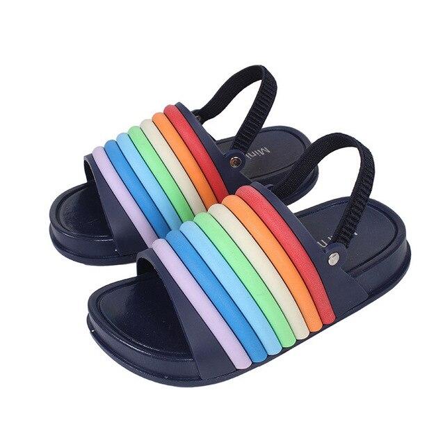 Mini Melissa Rainbow Strip Girls Sandals 2018 New Summer Shoes Jelly Shoes  Girl Non-slip Kids Beach Sandal Toddler 14-16.5cm aafb624974fe