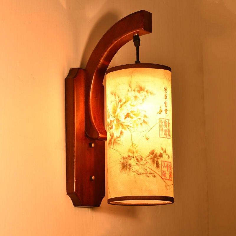 led estilo chines sala de estar lampada de parede unica cabeca de madeira macica antigo cabeceira