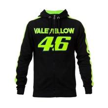 2017 Moto GP Valentino Rossi VR46 VALEYELLOW Black Hoodie Racing Mens Zip-up Sweater