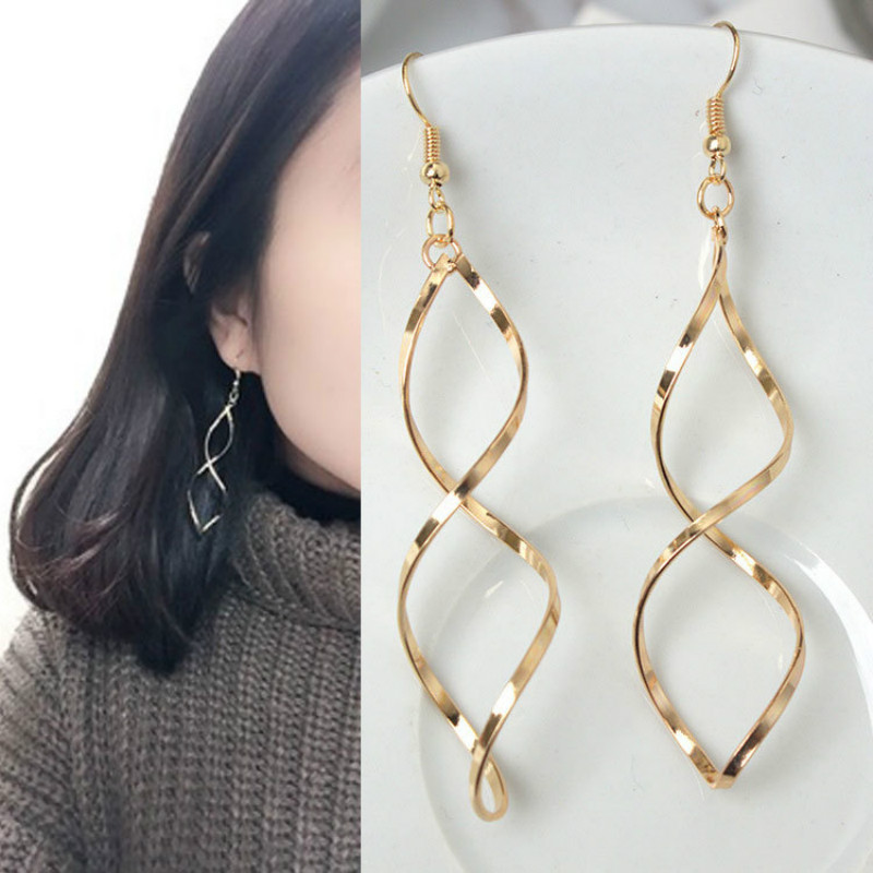 Top Quality Simple Spiral Ear Line Rose Gold Color Fashion Earrings Jewelry Drop Shipping