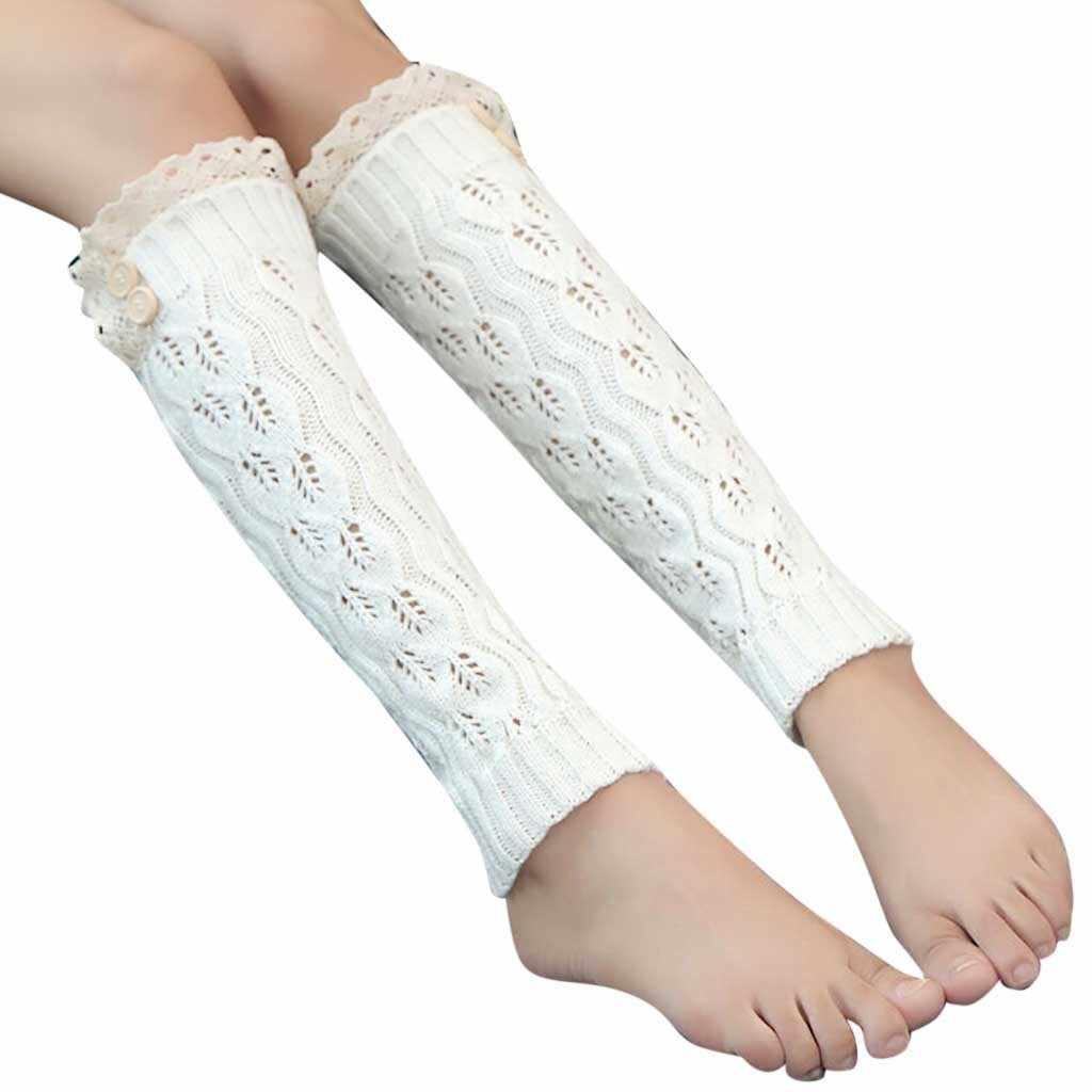 Kadınlar Kış sıcak Bacak Isıtıcıları Örme Tığ Düğme Dantel Uzun yüksek dizlikli çorap uzun çorap kadın diz yün çorap 2019 # SS