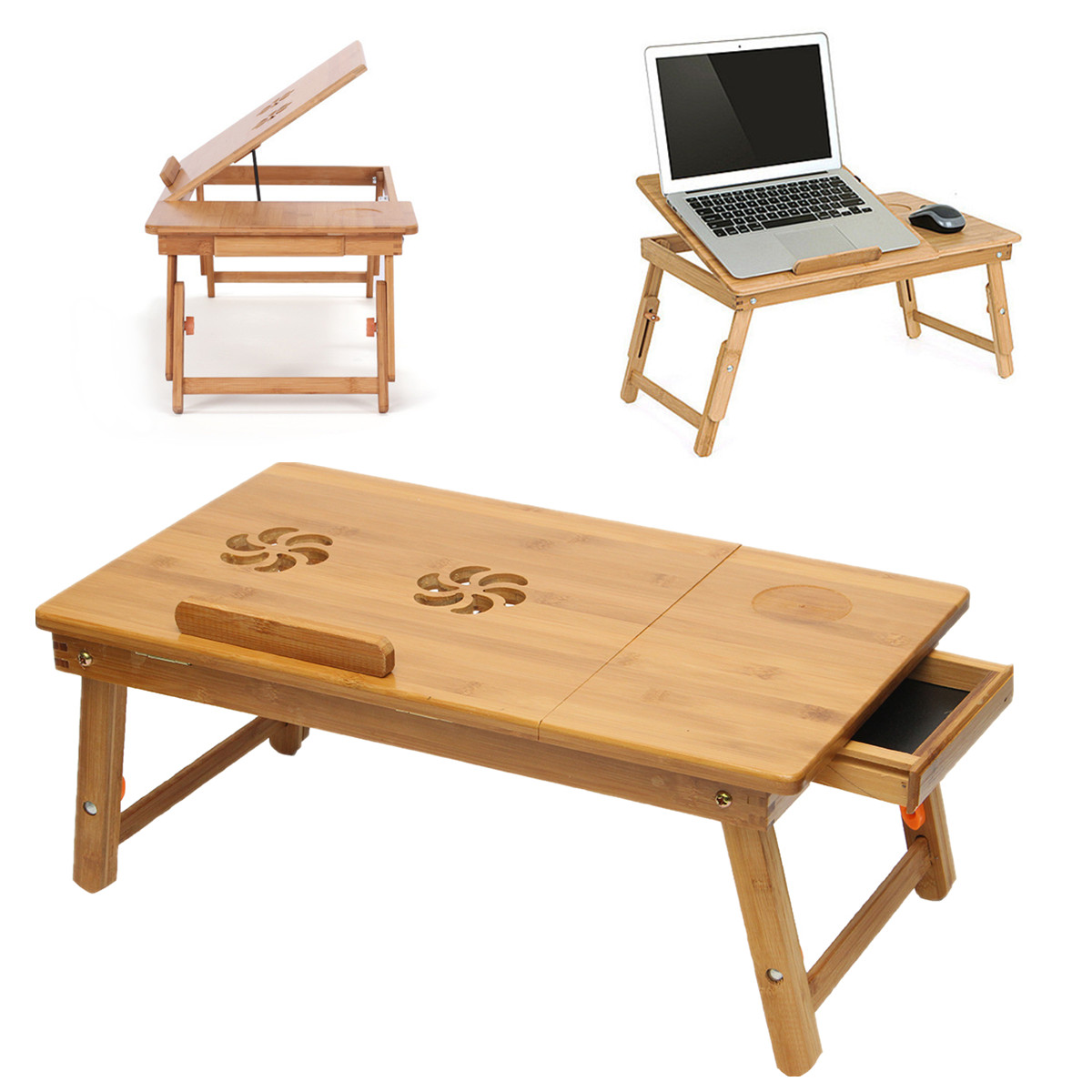 Laptop bed table tray - Laptop Tray Folding Bamboo Table Lap Without Cooler Pad Sofa Bed Office Stand Table Computer Desk