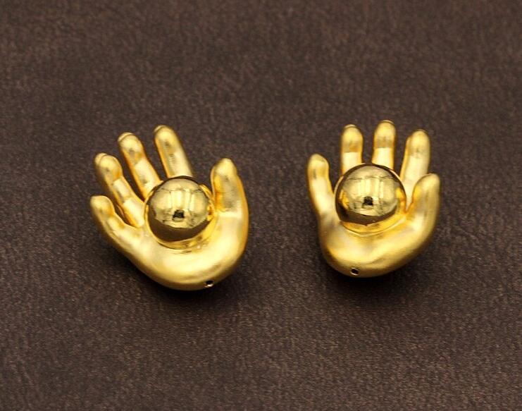 Новый 1 шт. чистый 999 24 К желтый золотой кулон/3D Новый Дизайн ладонь бисера Кулон 2.23 г