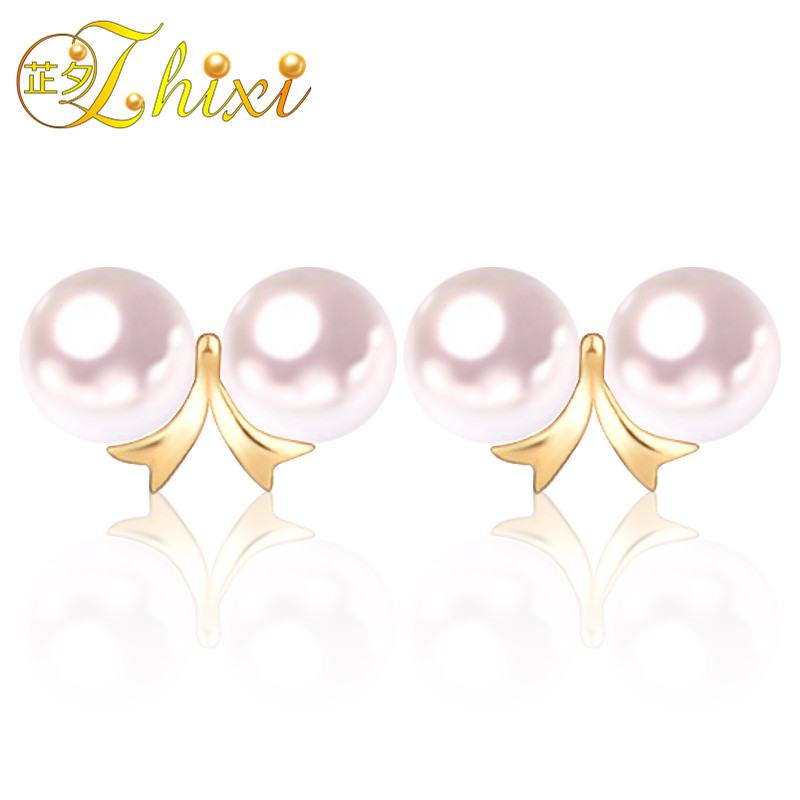 ZHIXI Pearl Earrings Fine Pearl Jewelry 18K Double pearl earrings Round Pearl Earrings For Women E132 цена 2017
