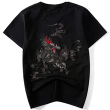 High quality hand embroidery Chinese Dragon T-shirt Men's Cotton Embroider Kung Fu T Shirts Tops Tang Suit Blouse