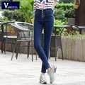 2017 spring and summer High waist breasted jeans women skinny stretch feet pants Korean versionstudents trousers pencil
