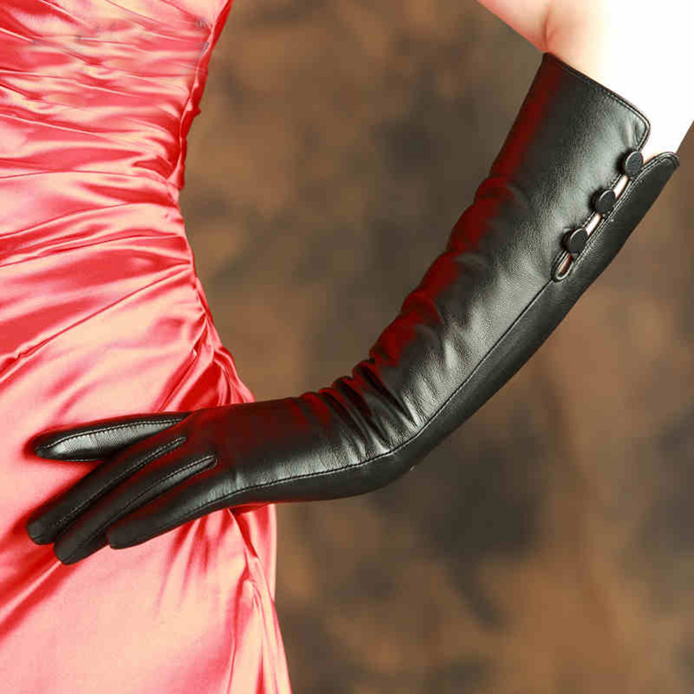 Black leather gloves with red buttons - Fashion Women Leather Gloves Solid Black Elbow 40cm Long Top Quality Goatskin Glove Driving Thermal Winter Special Offer X99