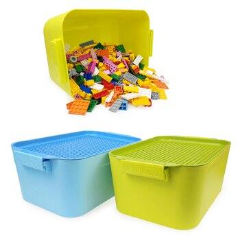 500 piezas + caja de almacenamiento grano aceptar caja de inserción de ortografía ensamblaje de bloques de construcción de plástico Cubo de juguete Compatible