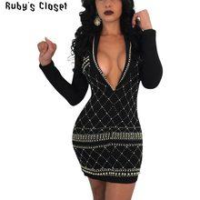 Rubin Wandschrank stickerei perlen glänzende frauen nacht club mini kleider  tiefem v-ausschnitt sexy charming lange hülse kleid . cd07ec2c15