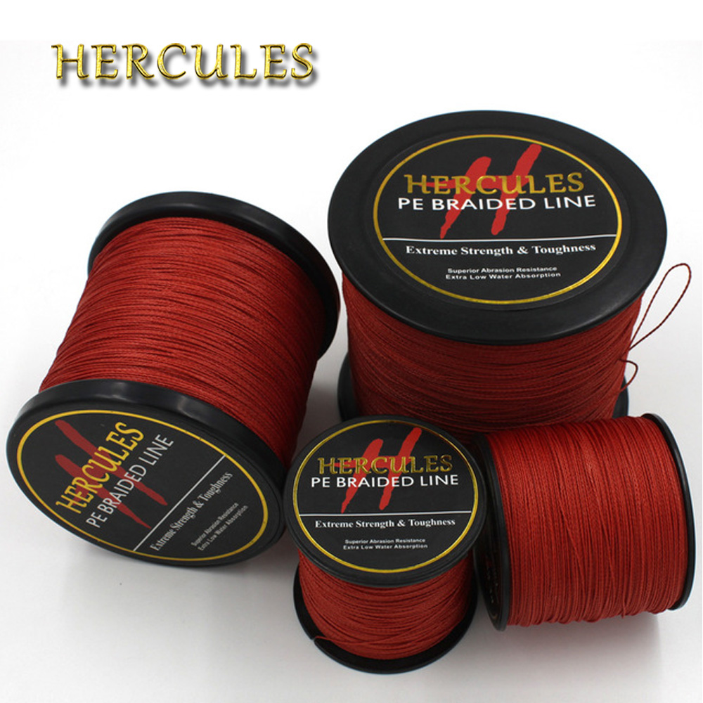 Hercules Fishing Line 4 Strands Red Braided Fishing Line Cord 100M 300M 500M 1000M 1500M 2000M PE Saltwater Carp Fishing Weave
