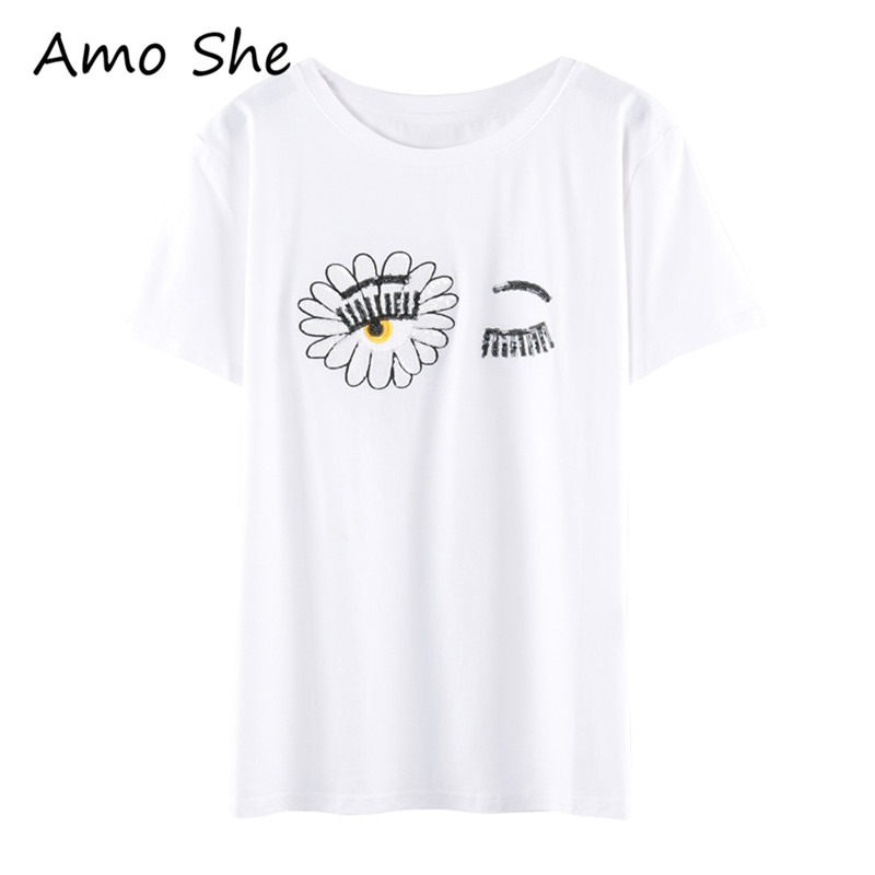Amo She Eyelash Sunflower Embroidery T Shirt Sequined Short Sleeve O Neck Basic Tops Women Summer Casual Slim Tees In Shirts From Womens Clothing