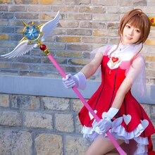"44.8"" Length Cardcaptor Sakura Clear Card Kinomoto Sakura Cosplay Star Dream Stick Magic Wand Halloween Party Cosplay Props New"