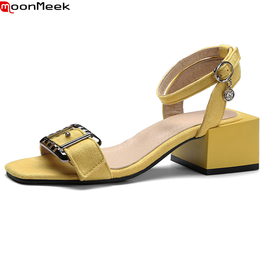 MoonMeek 2018 hot prevail solid sandals women shoes high heels round toe with buckle square heel elegant female shoes
