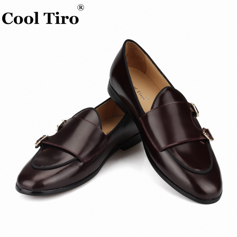 Cool Tiro Polished Leather Double Monk Loafers Men Moccasins Smoking Slippers Wedding Dress Shoes Flats Casual