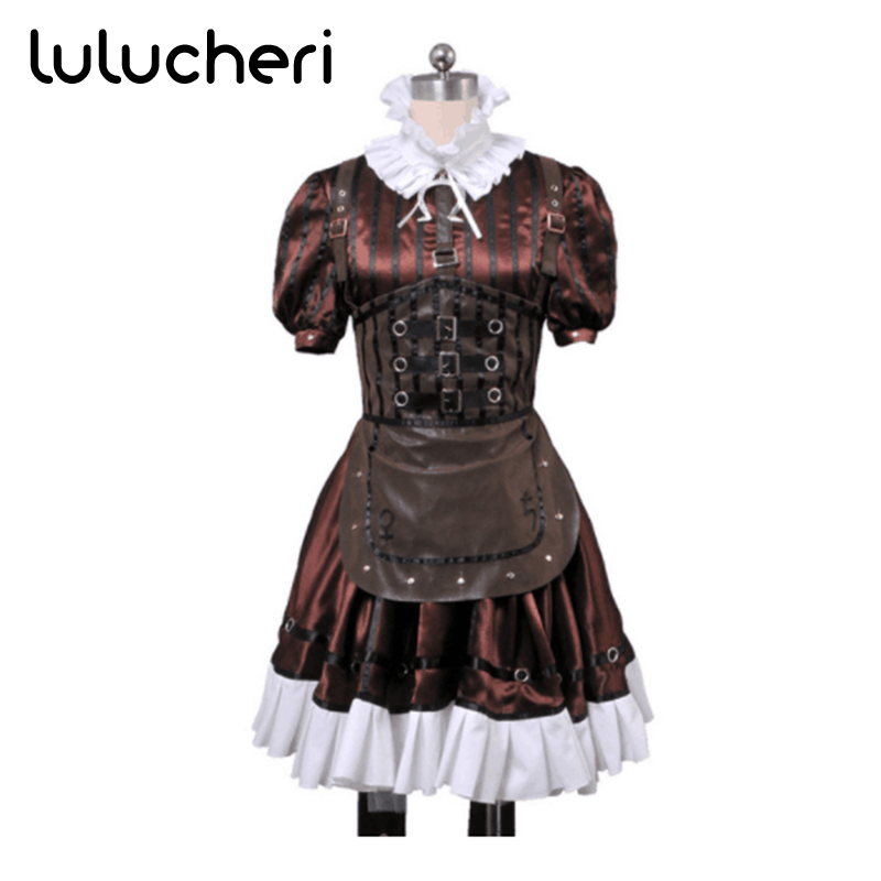 Alice Madness Returns Alice Stream Cosplay Costume Woman Party Dress Halloween Uniform alice madness returns heroine alice cosplay costume black white striped customized anime uniform