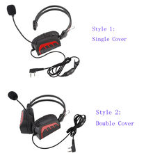 New K-Plug Over Head Single / Double Cover Aviation Headphone Headset Volume Control PTT Mic Speaker for Kenwood Baofeng Radio(China)
