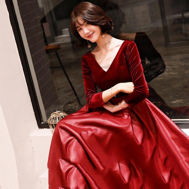 0c65c32358d Халат De Soiree Длинные рукава бургундские Длинные вечерние платья в пол  винтажные атласные Дешевые выпускные платья