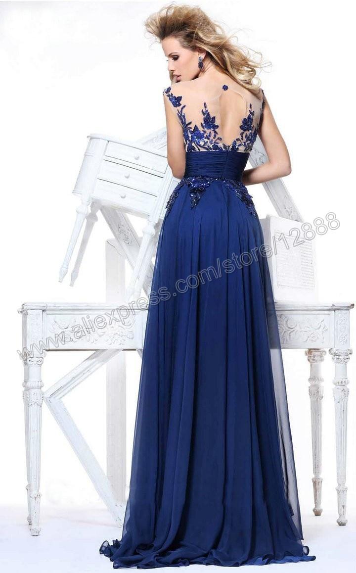 Most Beautiful Evening Gowns Royal Blue Chiffon Evening Dress 2014 ...