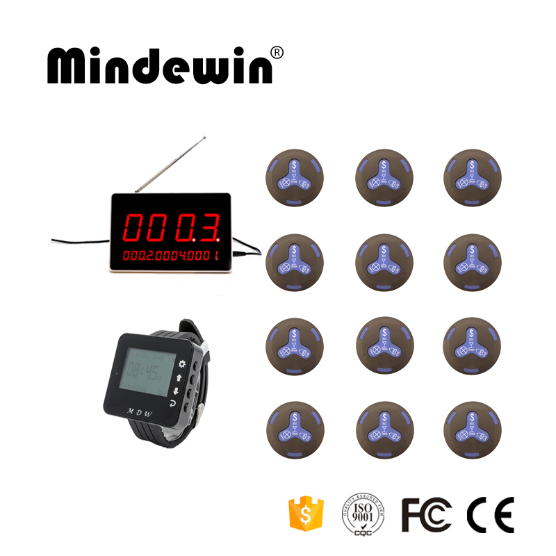 Mindewin Wireless Waiter Call System Hotel Call Bell 12 New Waterproof Call Button +1 LED Display +1 Waiter Wrist Watch Pager 2017 new restaurant service equipment wireless waiter call bell system 1 watch 5 call button