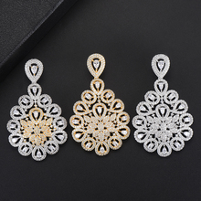 SISCATHY Charms Hollow Cubic Zirconia Water Drop Earrings For Women Elegant Bridal Engagement Wedding 2019 New Jewelry