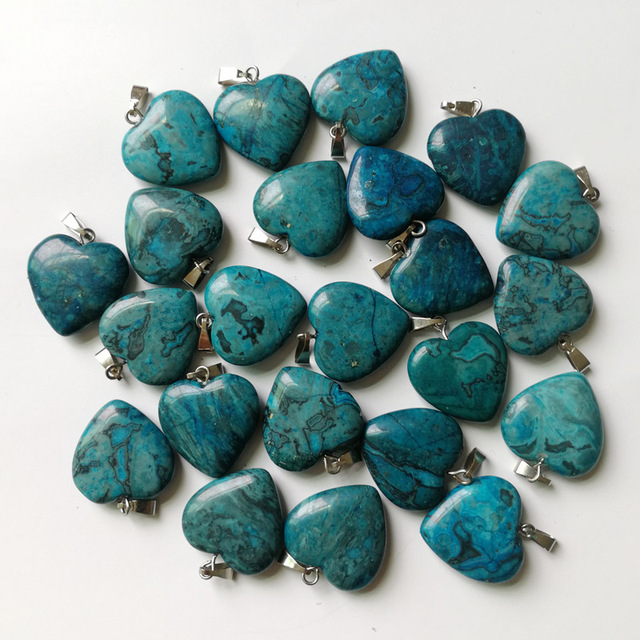 Wholesale Fashion 20MM Blue Onyx Natural Stone Heart Pendants For Jewelry Making Charm Accessories 50pcs