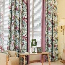 Шторы в скандинавском стиле с цветочным принтом для спальни, кухни, фиолетовая ткань в стиле пэчворк, свежая оконная отделка, тюль, украшение для дома